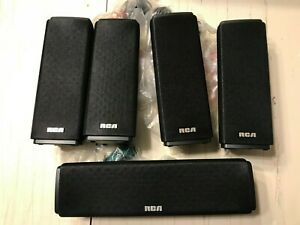 RCA RTD317W Set Of 5 Speakers Only Music Surround Sound Home Theater NEW Black