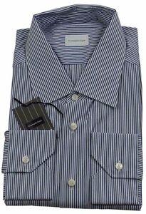 Ermenegildo Zegna Navy Blue Stripe Shirt Made in Italy BNWT Size 45 / 17.75