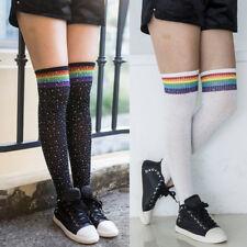 Women Nylon Stockings Warm Thigh High Over the Knee Sparkle Rhinestone Socks x 1