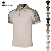 Mens Army Tactical Combat T-Shirts Military Casual Short Sleeve Camouflage Shirt