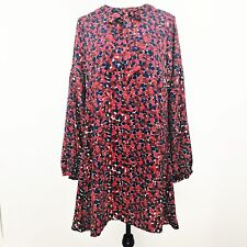 bac3be382f54 Hayden Los Angeles Women Dress Long Sleeve Tie Dots Red White Blue Sz L NEW