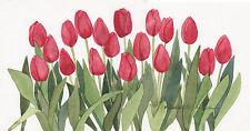 Red Row Tulips Original Watercolor