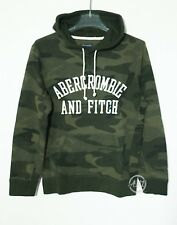 NWT Abercrombie & Fitch Mens Applique Logo Graphic Pullover Hoodie Green Camo XS