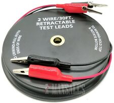 2 Wire 30ft Retractable Test Leads 18 Gauge Alligator Clips Electrical Testing