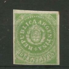 ARGENTINA 1862 FINE  UNMOUNTED MINT 10 CENT GREEN IMPERF - SG 8.