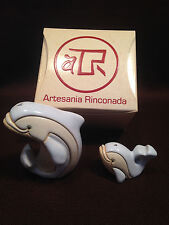 ARTESANIA RINCONADA #322 & #322B WHITE DOLPHIN & BABY DOLPHIN Exc. w/Orig Box!