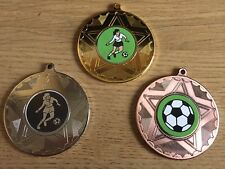 3 x LADIES FOOTBALL MEDALS (50mm) GOLD,S & B - FREE ENGRAVING,CENTRES & RIBBONS