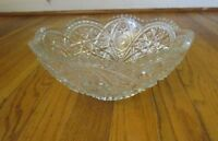 """VINTAGE - ANTIQUE - CUT GLASS BOWL - CLEAR - 9.25"""" IN DIAMETER - 4"""" TALL"""