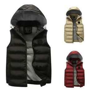 Winter Warm Mens Slim Fit Vest Sleeveless Coat Hooded Waistcoat Jacket Sports