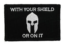 With Your Shield or On It Spartan Tactical Hook & Loop Morale Tags Patch Black