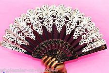 Spanish Style Black Flora / Oriental Dance Party Wedding Silk Folding Hand Fan