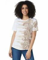 Denim & Co. Womens Printed Short-Sleeve Top XX-Small Taupe A354142