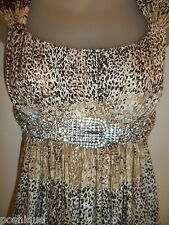 Sky Clothing Brand XS Dress Rhinestone Crystal Belt Leopard Animal Print Sexy