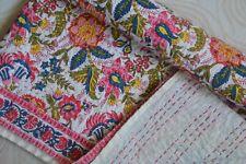 Barmier Kantha Quilt Cotton Bedspread Floral Bedding Queen Size Blanket ((A))
