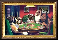 Coolidge Dogs Playing Poker Poster in Premium Rust Wood Frame 24x36