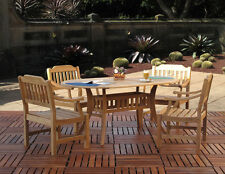 Clayton Premium Grade A Outdoor Teak 5-PC Dining Set [4-Chairs and Oval Table]