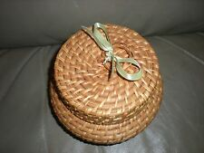 Vintage Covered Basket Collectibles Home Decor Decoration Decorative Round Old