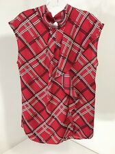 NEW YORK AND COMPANY WOMEN'S RUFFLE BLOUSE RED/BURG/WHITE MED NWT $43