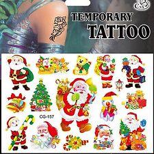 Navidad Árbol de Navidad Santa Tatuaje Temporal Cuerpo Candy presenta Campanas De Peluche #157