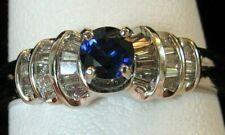 BLUE SAPPHIRE & DIAMOND 14K WG RING