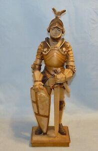 Fantastic Wood Carved Tall Knight Figure with Shield and Sword