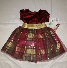Bonnie Jean Toddler Girl Red Plaid Gold Sparkle Holiday Dress Size 2T