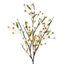 RAZ Imports Christmas Decor - LED Lighted Twig Branch Gold Berries 3pc