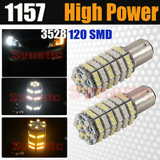 2x 1157 Dual Color 120-SMD Switchback White/Amber LED Turn Signal Light Bulbs