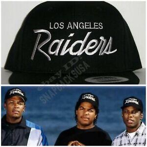 LA Los Angeles Raiders Script Black Snapback Cap Hat NWA ICE CUBE EAZY E