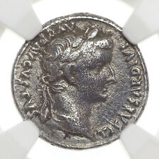 Tiberius. AD 14-37. AR Denarius, Scarce Quadriga type. NGC F