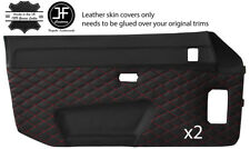 RED DIAMOND STITCH 2X DOOR CARD LEATHER COVER FOR PORSCHE 924 944 1975-1991