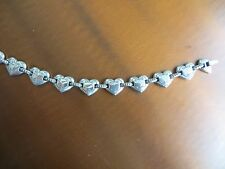 "Brighton Retired RARE Silver tone Heart's  Links Bracelet 7"" inches pre-owned"