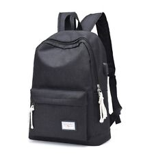DXYIZU Black Canvas Unisex Laptop Backpack Bag with USB Charger Port
