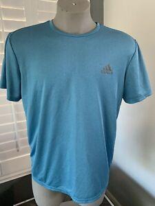 Adidas Mens HEAT RDY Reflective Stretch Blue Gym Running Shirt Tee Size L