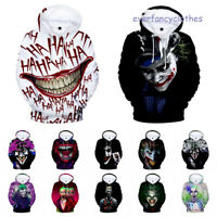 Halloween Haha Joker Men's Women's 3D Hoodies Sweatshirt Hip Hop Pullover Tops