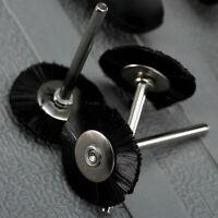 "25mm Flat Nylon Bristle Wheel Wire Brush 1/8"" Shank For Rotary Tool 5pc"