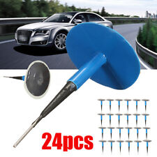 24Pcs 6mm Car Truck Tubeless Tyre Puncture Repair Wired Mushroom Plug Patch Kit