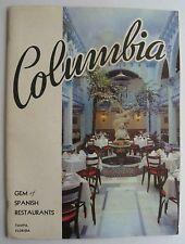 Restaurant Menu For Columbia Gem Of Spanish Restaurants 1957 Tampa Florida