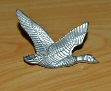 Vintage pewter brooch flying Canadian goose marked Canada.