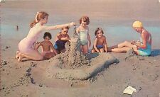 Young Mother Children Beach Sand Castle Summer Fun !960's 1950's Postcard