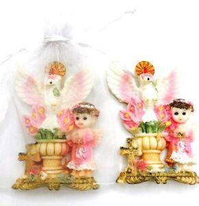 12 X BAPTISM FAVORS Pink ANGEL RECUERDOS MAGNET RECUERDOS DE BAUTIZO Y COMMUNION