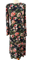 M&S Size 8 10 Navy Blue Long Sleeve Multicoloured Floral Long Flared Dress