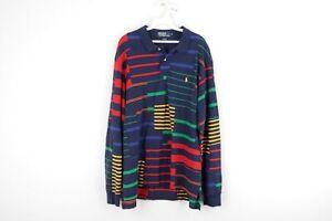 Vintage 90s Ralph Lauren Mens XL Multicolor Patchwork Long Sleeve Polo Shirt