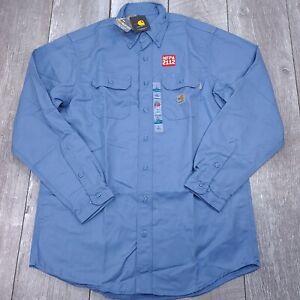 Carhartt FR Flame Resistant Twill Work Long Sleeve Shirt Men Large Tall Blue