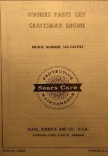 Sears Craftsman Lawn Tractor Engine 143.566062 Tecumseh H60 Owner & Parts Manual