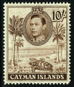 SG 126a CAYMAN ISLANDS 1943 - 10/- CHOCOLATE (perf. 14) - MOUNTED MINT