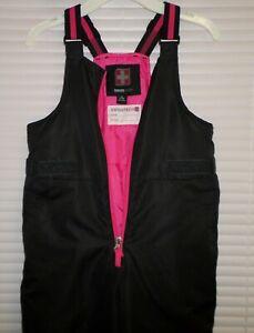 SwissTech Size 7- 8 Girls Black & Pink Snow Pants Bib