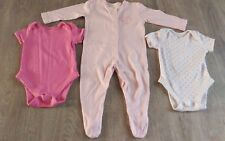Baby girl pink sleepsuit & 2x bodysuit set size 0-3 mths by George
