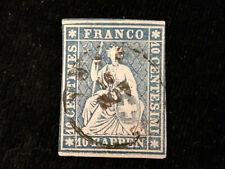 Schweiz Helvetia ab 1854 - Sitzende Helvetia (sog. Strubel) 10 Rappen     Nr.4