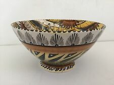 Penzo Deep Footed Bowl Hand Painted Made in Zimbabwe Signed & Dated 2008 African